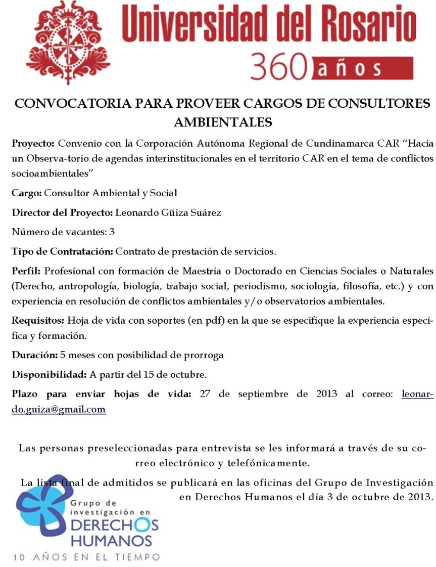convocatoria consultor