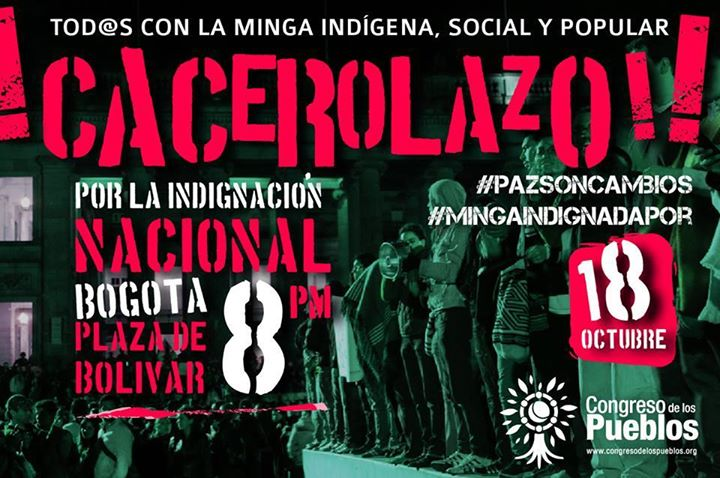 Cacerolazo Nacional con Minga Indigena 2013