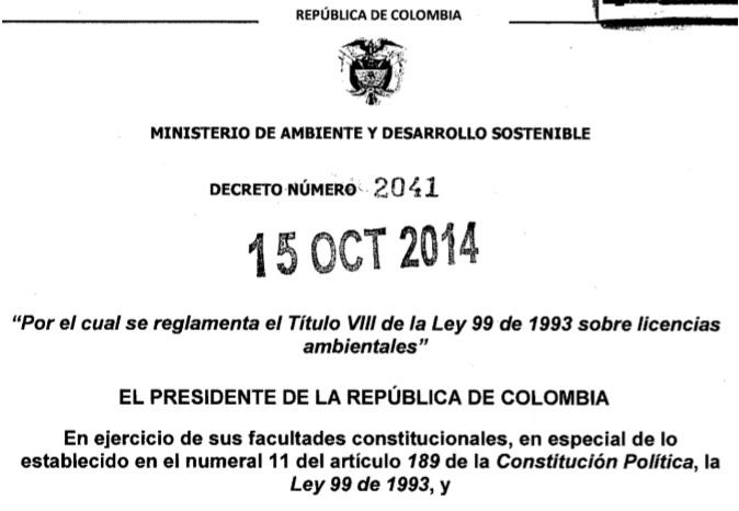 Decreto 2041 de 2014 Licencias Ambientales
