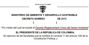Decreto reglamentario unico ambiente 2015