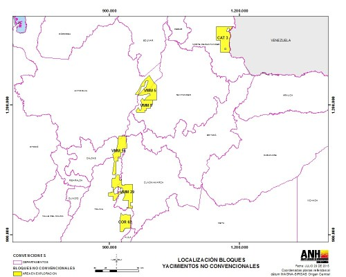 mapa bloques fracking - Colombia