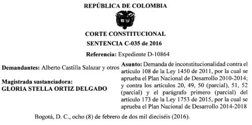 Cabecera sentencia paramos c 035 de 2016