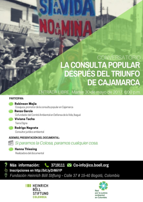 Invitación al conversatorio la consulta popular después del triunfo deCajamarca