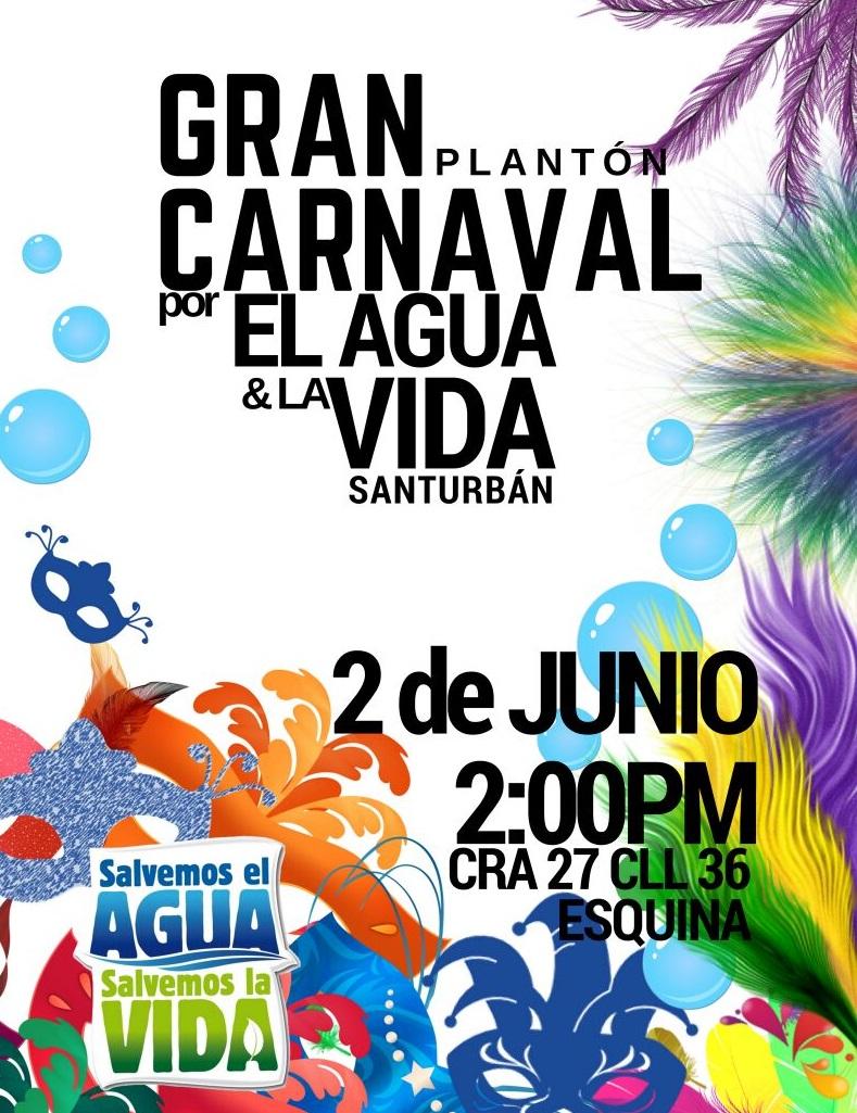 Este 2 de junio, Carnaval por el Agua y la Vida, 2pm enBucaramanga
