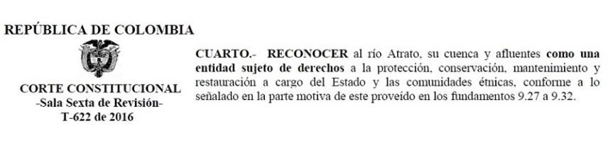 Sentencia T-622 de 2016 que reconoce al río Atrato como sujeto dederechos