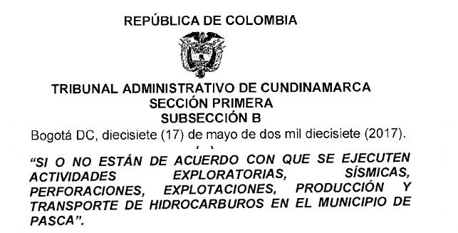 Tribunal Administrativo de Cundinamarca declara constitucional pregunta de consulta popular enPasca