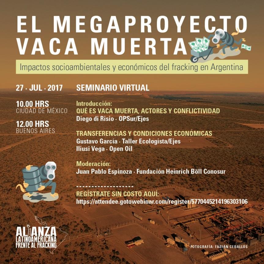Invitación seminario virtual sobre impactos del FRACKING enArgentina