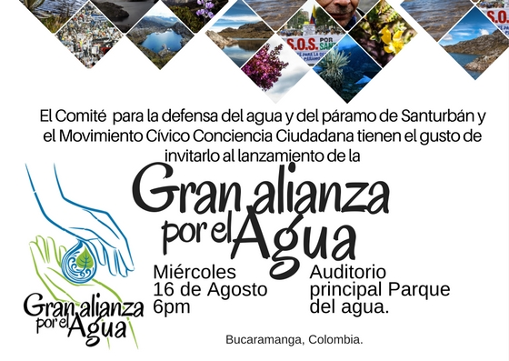 Invitación lanzamiento Gran alianza por el Agua enBucaramanga