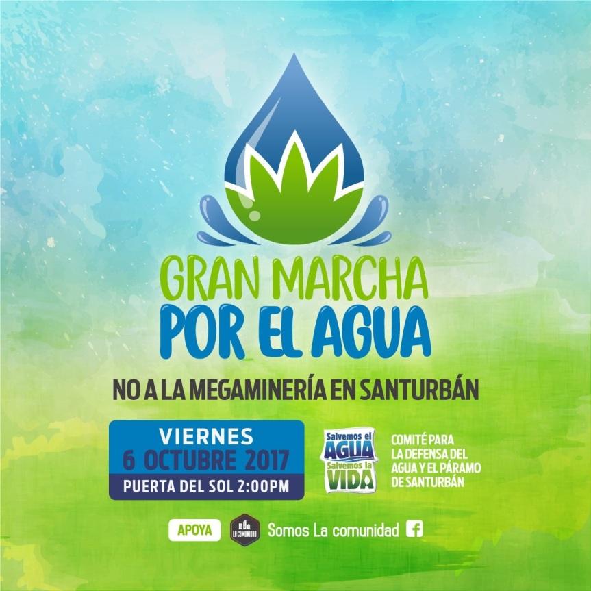 Gran marcha por el agua este viernes 6 de octubre enBucaramanga
