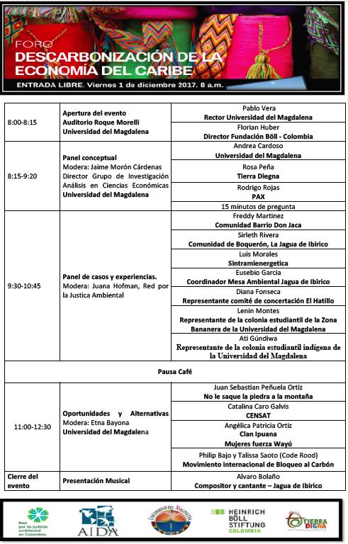 Agenda I Foro de Descarbonización del Caribe Colombiano