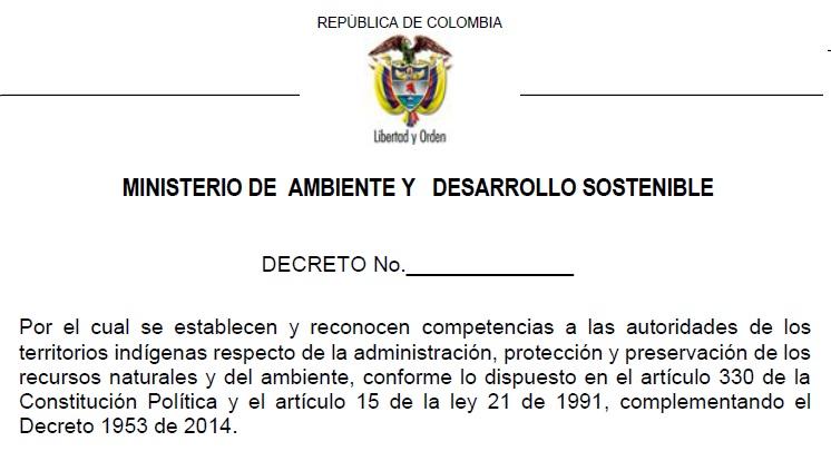 proyecto decreto autoridad indigena ambiental
