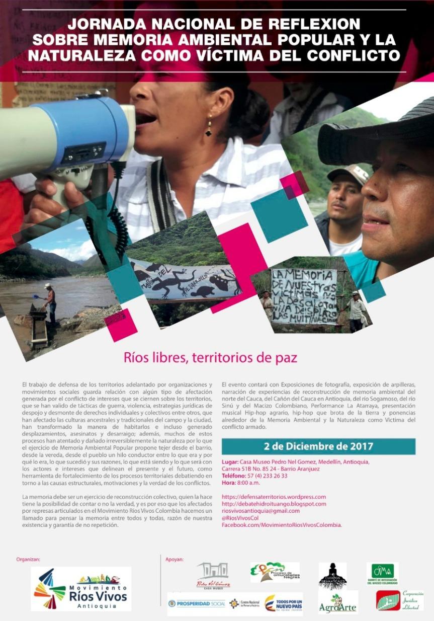 Jornada Nacional de reflexión sobre memoria ambiental popular y la naturaleza como víctima delconflicto.