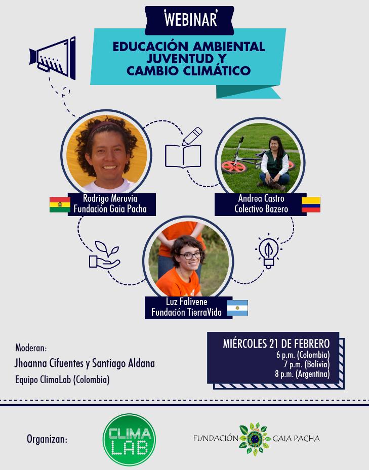Webinar, educación ambiental, juventúd y cambioclimático
