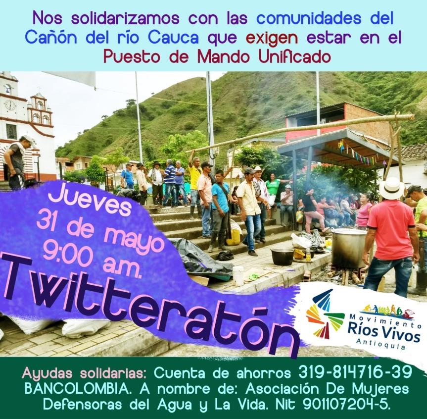 Twitteratón en solidaridad con las comunidades afectadas deHidroituango